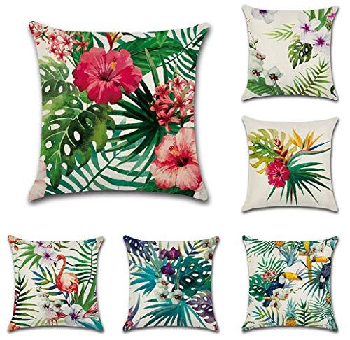 Tebery - Juego de 6 fundas de cojín cuadradas de algodón, para sofá, cama, diseño de flores tropicales y flamencos, 45,7 x 45,7 cm