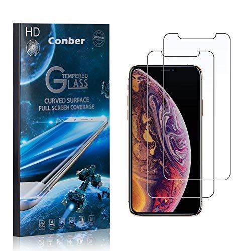 [2 Stück] Conber Panzerglas Schutzfolie für iPhone 11 Pro, [9H Härte][Anti-Kratzen][Anti-Öl][Anti-Bläschen] Panzerglasfolie Displayschutz für iPhone 11 Pro