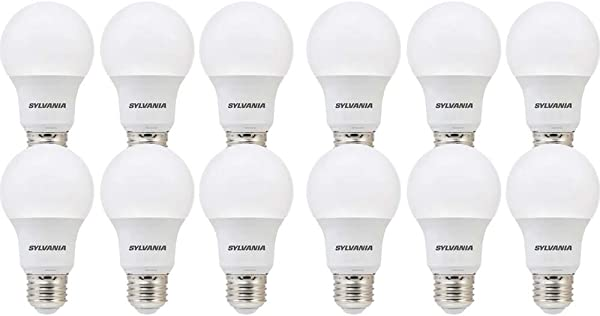 SYLVANIA 74470 60W Equivalent LED Bulb A19 Lamp 12 Pack Day Light Energy Saving Longer Life Value Line Medium Base Efficient 8 5W 5000K Bright White 12 Piece