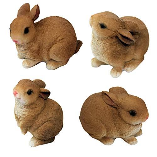 1PLUS 4er Set Polyresin Figuren Gartenfiguren Häschen Kaninchen, handbemalt, Gartendekoration Tiere, Kunstharz Dekofiguren