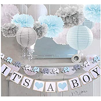 It/'s a Boy Baby Shower Blue Baby Shower Decor for Boy 52PCS Party Supplies Set for Kids Baby Shower Decorations for Boy
