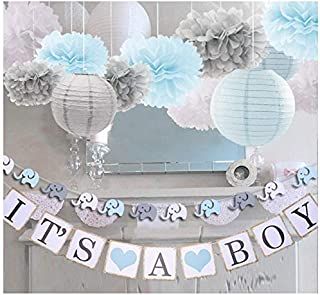 luckylibra Boy Baby Shower Decorations, It is a Boy Banners Elephant Garland and Paper Lantern Paper Flower Pom Poms (Blue...