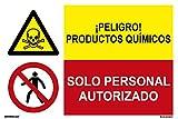 PRD4360602 - Señal Combinada ¡ Peligro! Productos Químicos/Solo Personal Autorizado Adh...