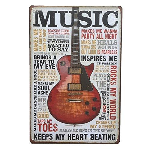 WINOMO Music - Placa decorativa de metal para pared, hogar, bar, café