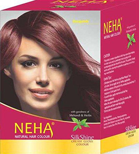 Neha Pflanzliche Natürliche Haarfarbe mit Henna & Kräutern - BURGUND (BOX: 10x15ml) | Silk Glanz-Creme Gloss Mehandi