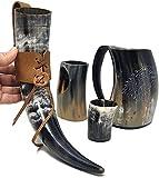 Brainmart Stark House Viking Drinking Horn mug Set Kit | Tankard For beer mead wine ale | DirtWolf Engraving Drinking Mug with Horn, Shot Glass