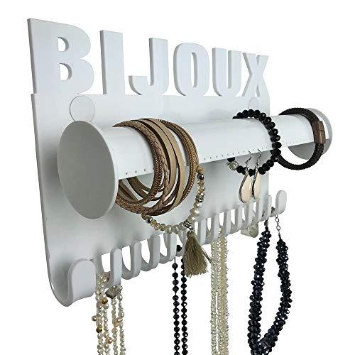 Porta Gioielli da Parete Bijoux – Portaoggetti Collana galeara – Orecchini - Porta Collana da Parete Blanc Bracelet (Bianco - Bijoux)