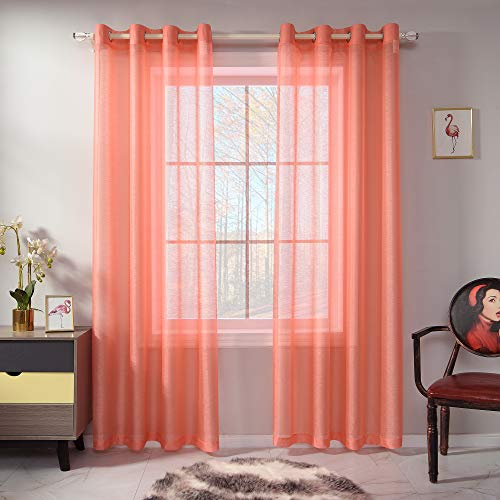 RAIN CITY Coral Sheer Curtains 84 Inch Length Set 2 Panels for Bedroom Faux Linen Sheer Drapes Soild Luxury Grommet Coral Textured Sheer Curtains for Living Room Basement Windows 52 X84 Inches Long