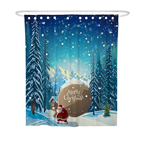 TOPBATHY 180x180cm Weihnachten Schnee Wald Sankt Geschenke Gedruckt Duschvorhang Badezimmer Polyester Dekor