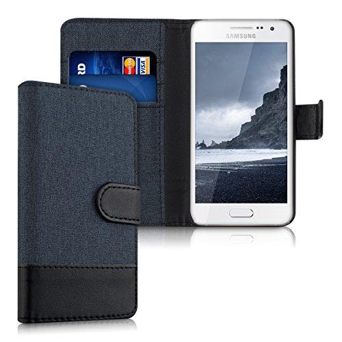 kwmobile Wallet Case kompatibel mit Samsung Galaxy A3 (2015) - Hülle mit Ständer - Handyhülle Kartenfächer Dunkelblau Schwarz