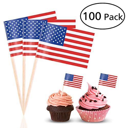 BESTOYARD Amerikanische Flagge wählt US-Amerikanische Flagge Toothpicks Cocktail-Sticks Party Zubehör Geburtstag Hochzeitstorte Kuchen Dekorationen, Pack von 100