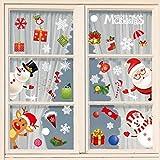 heekpek Pegatinas Ventana Navidad Santa Muñeco de Nieve Pegatinas Navidad Cristal Santa Claus Ventana Pegatinas Puerta Navidad Pegatinas Escaparate Navidad