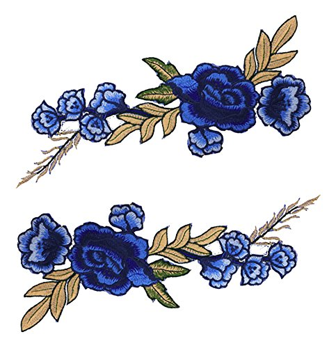 Blue Vessel 2 STK Stickerei Rose Blume Nähen auf Patch Abzeichen Tasche Hut Jeans Kleid Applique Fertigkeit Marineblau