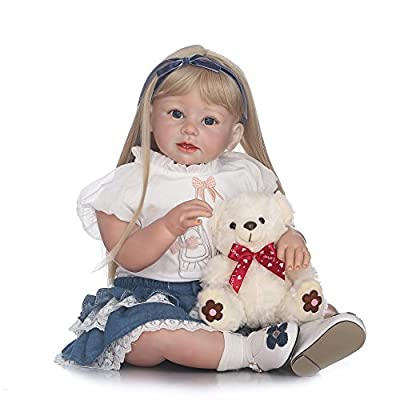 """Decdeal Reborn Baby Toddler Doll, Like Real Life Newborn Lovely Baby Girl Doll with Soft Cute Bear Toy for Kids Birthday Gift, 28""""/27""""/22"""", 4 Type"""