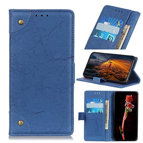 Funda protectora, Caballo Loco for Motorola Moto E6 Plus hebilla de cobre retro textura horizontal del cuero del tirón con el sostenedor y ranuras for tarjetas y monedero (Negro) ( Color : Blue )