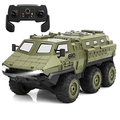 RC Cars, 1:16 Scale Remote Control Car, 2.4Ghz Off-Road Remote Control Truck, High Speed Armored Vehicle with 6WD, 60 Min Play, 30m RC Distance for Boys, Kids, Adults