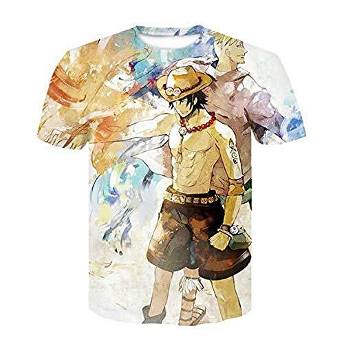 Camiseta de Manga Corta con Estampado 3D de Personajes de Luffy de una Pieza de cómics en Serie japoneses-C_XXS