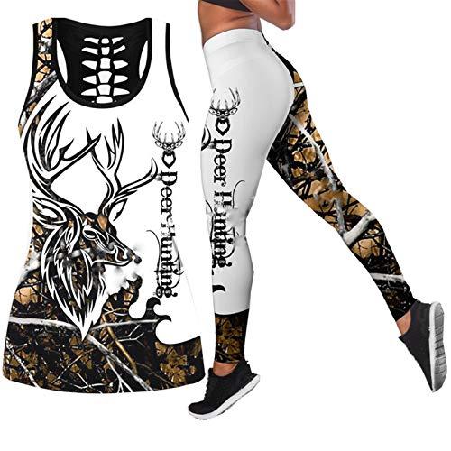CONPLWS Animal Deer Orange Colorful Women Hollow Tanktop + Legging 3D Print Streetwear Sexy Vest