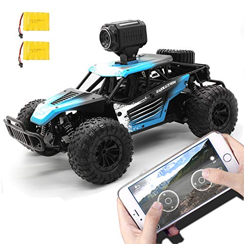 Gizmovine Remote Control Car with Camera, High Speed Racing Off-Road RC Cars with 2 Rechargeable Batteries, Waterproof RC Monster Trucks Buggy Vehicle Electric Toy Cars for All Kids Boy