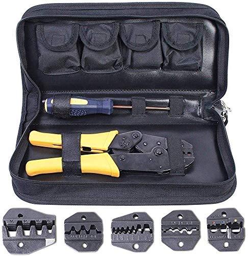 Pince à Sertir 5 en 1 Kit, Amzdeal Pince Sertissage 0,5-35 mm² Réglable - avec 5× Mâchoires Interchangeable, 1× Tournevis et 1× Étui de...
