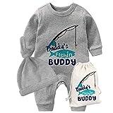 culbutomind YSCULBUTOL Baby Zwillinge Vatertag Kleinkind Mädchen Kleidung Papa Angeln Buddy Baby Strampler Geburtstag Kleid Gr. 56, Grauer Vater zum Angeln