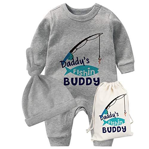 culbutomind YSCULBUTOL Baby Zwillinge Vatertag Kleinkind Mädchen Kleidung Papa Angeln Buddy Baby Strampler Geburtstag Kleid Gr. 68, Grauer Vater zum Angeln
