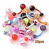 Compre show 20 Piercing Ombelico Orecchio in PLASTICA Multicolori