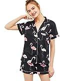 Floerns Women's Notch Collar Short Sleeve Sleepwear Two Piece Pajama Set Multicolor M