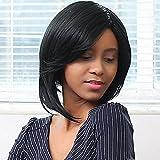 MZP asimmetria lato dritto Bang bob parrucca di capelli umani , black