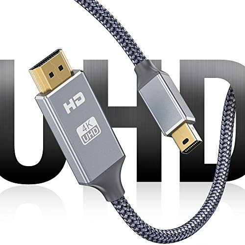 Mini DisplayPort to HDMI Cable, [4K@30Hz] Capshi Nylon Braid Thunderbolt to HDMI Cable, UHD High Speed Mini DP to HDMI Cord Compatible MacBook Air/Pro, Surface Pro/Dock 3Ft
