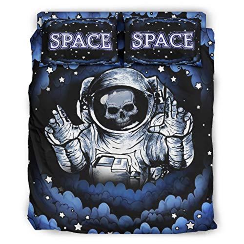 Haythan Juego de 4 fundas de edredón y fundas de almohada, diseño de astronauta con astronauta de microfibra suave, 240 x 264 cm, color blanco