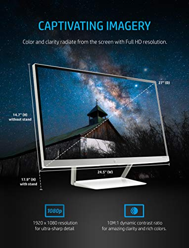 HP 27er 27-Inch Full HD 1080p IPS LED Monitor with Frameless Bezel and VGA