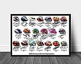 Formula 1 2020 - Impresión firmada de los cascos de 20 conductores, 30,5 x 20,3 cm