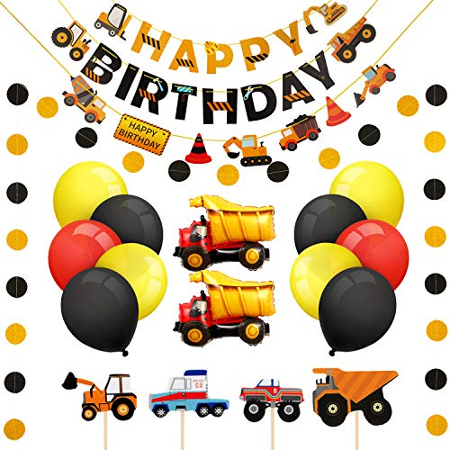 Boao Construction Birthday Party Supplies Dump Truck Party Decorations Kits Set for Kids Birthday Party Decor