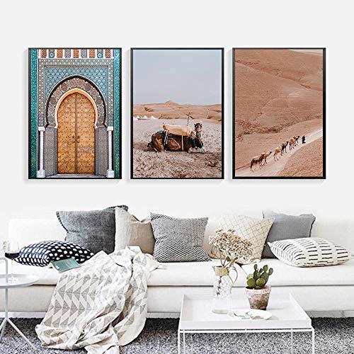 VVSUN Moderno Boho Paisaje Lienzo Pintura Desierto Cartel de Viaje Camello y Puerta Pintura Marruecos Sala de Estar Decoración para el hogar 50X70cm 20x28inchx3 Sin Marco