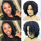 Rofa Dreadlock Wig Short Twist Wigs for Black Women and Men Afro Curly Synthetic Wig Daily Party Replacement Wig for Women (Black)