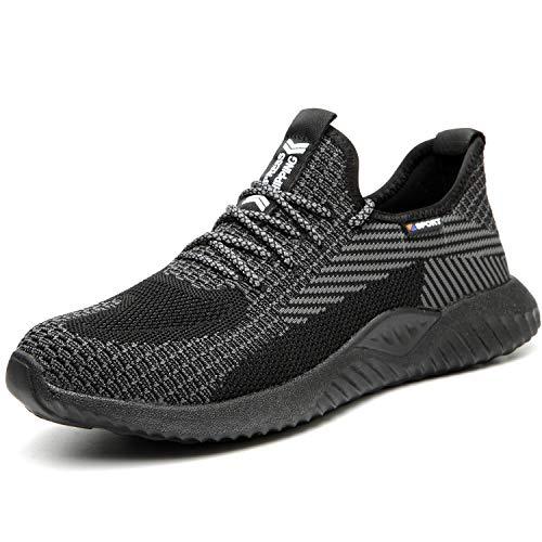 UCAYALI Zapato de Seguridad Hombre Zapatilla de Trabajo con Punta de Acero Ligero Antideslizantes Calzado Industrial Transpirable(Negro, 37 EU)
