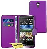 FoneExpert® Wallet Hülle Flip Cover Hüllen Etui Ledertasche Lederhülle Premium Schutzhülle für HTC Desire 620 + Bildschirmschutzfolie (Lila)