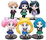 6 Piezas Anime Sailor Moon Figuras de acción 12Cm PVC Kimono Chibimoon Mercury Mars Venus Júpiter Sailor Figura Modelo muñeca Juguetes coleccionables