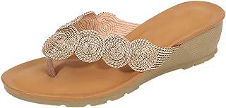 Women Wedge Shoes Flats Sandals, Ladies Solid Flower Flip Flop Slippers Indoor&Outdoor Shoe Non-slip