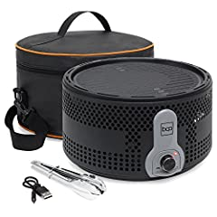 PORTABLE GRILL: This compact, travel-friendly BBQ grill system is made for convenient grilling at home or during your next camping trip; travel bag and tongs included SUPERB SMOKE REDUCTION: The pan and dripping tray design eliminates oil and fat dri...