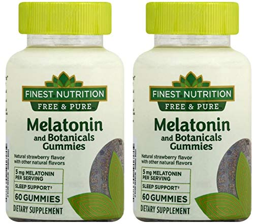Melatonin + Botanicals Gummies Strawberry60ea, 2 pk Finest Nutrition Free & Pure