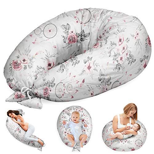 Stillkissen Schwangerschaftskissen zum Schlafen Seitenschläferkissen - Lagerungskissen für Baby XXL Pregnancy Pillow Oeko-Tex Weiß mit Traumfänger