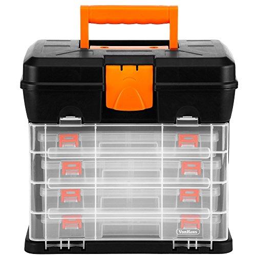 VonHaus Multi-purpose Small Parts, Crafts or Tool Organizer/Storage Box - 4 Removable Trays & Adjustable Dividers (10.9 x 10.1 x 6.9 inches - Black/Orange)