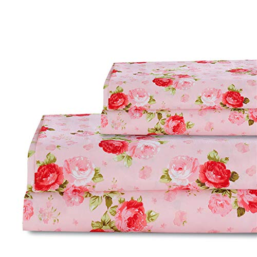 Bedlifes Rose Floral Sheet Set Luxury Ultra Soft Wrinkle-Free Hypoallergenic Pattern Printed Bed Sheets Deep Pocket Flat Sheet& Fitted Sheet& Pillowcase 100% Microfiber 3 Piece Twin Pink Flowers