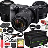 Sony a6400 4K Mirrorless Camera ILCE-6400M/B with 18-135mm F3.5-5.6 and FE 50mm F1.8 2 Lens Kit Bundle with Deco Gear Travel Case Photography Accessories Set and 2X Extra Battery