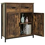 USIKEY Industrial Floor Storage Cabinet with 2 Drawers and Doors, Accent Cupboard, Free...