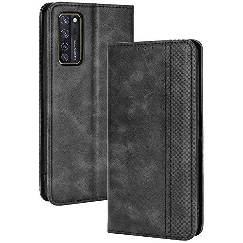 ALAMO Retro Klapp Hülle für ZTE Axon 20, Premium PU Leder Handyhülle mit Kartenfächer & Geldbeutel - Schwarz
