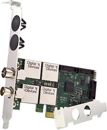 Digital Devices Cine C2T2I V7 - Twin Tuner TV Karte (DVB-C DVB-C2 DVB-T DVB-T2 ISDB-T | PCI-E | Low-Profile | Einkabelsystem | SD / HD / UHD / 4K / HEVC) - Für Heim und Professionellen 24/7 Einsatz