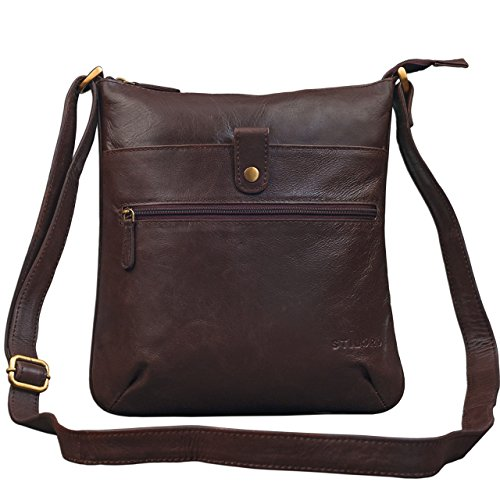 STILORD 'Lina' Bolso Bandolera Mujer Piel Bolso Mensajero pequeño Bolsa para Tablet 10.1 Pulgadas Bolsa Mano Bolso Hombro de auténtico Cuero, Color:Chocolate - marrón